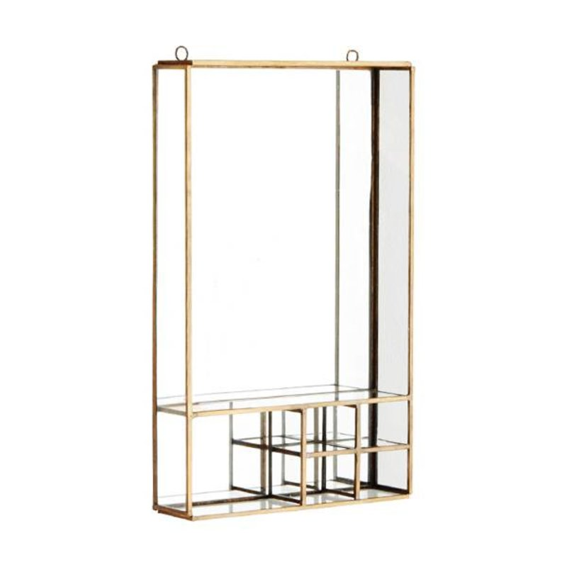 Madam Stoltz-collectie Wall mirror w/ shelfs ant. Brass