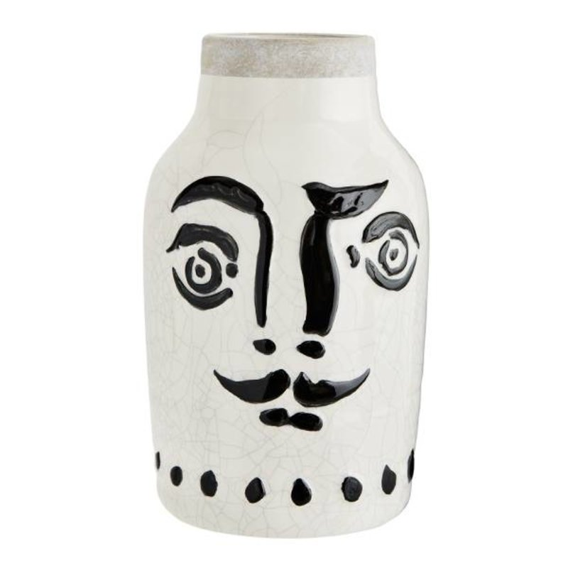 Madam Stoltz-collectie Ceramic vase with face black - white 16 cm