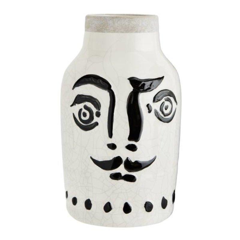 """Madam Stoltz-collectie Keramiek vaas """"FACE' zwart-wit 16 cm"""