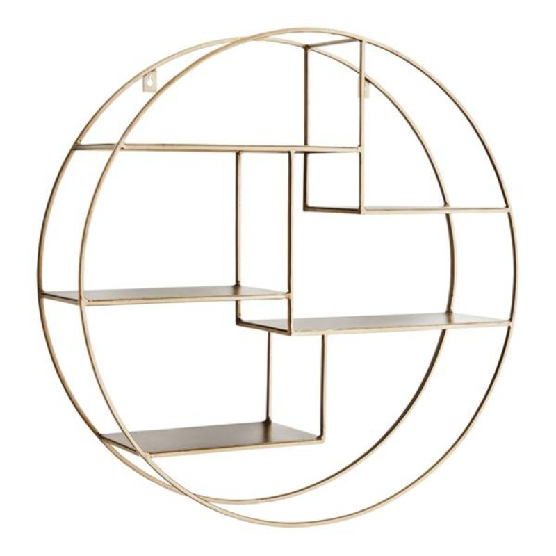 Madam Stoltz-collectie Round wall shelf ant. brass