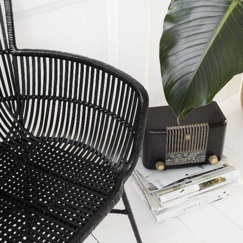 House Doctor-collectie Loungestoel COON zwart rattan