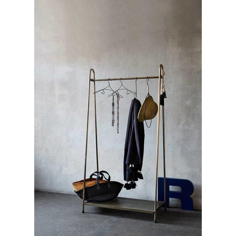 Madam Stoltz-collectie Madam Stoltz kledingrek messing met plateau