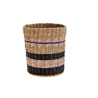Madam Stoltz Wicker basket black/purple