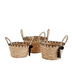 Madam Stoltz-collectie Basket set of 3 with pompon and tassels