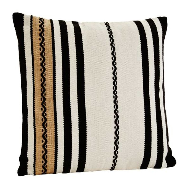 Madam Stoltz-collectie Chenille cushion cover with stripes