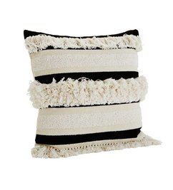 Madam Stoltz-collectie Chenille cushion cover with tassels black/off white