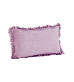 Madam Stoltz-collectie Stonewashed cushion cover lilac with fringes