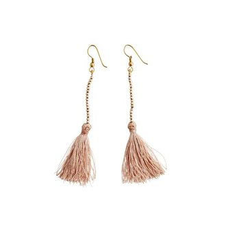 Madam Stoltz Tassel earrings - nude