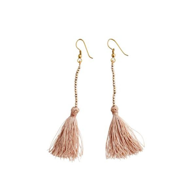 Madam Stoltz-collectie Tassel earrings - nude