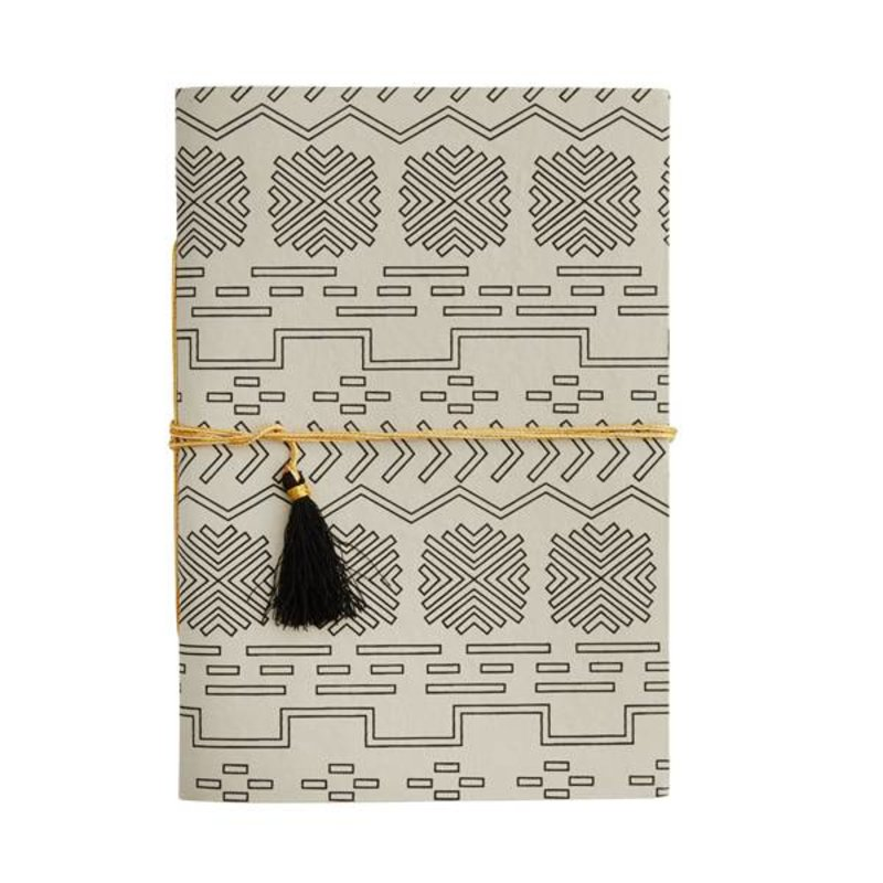 Madam Stoltz-collectie Notebook ecru - black pattern