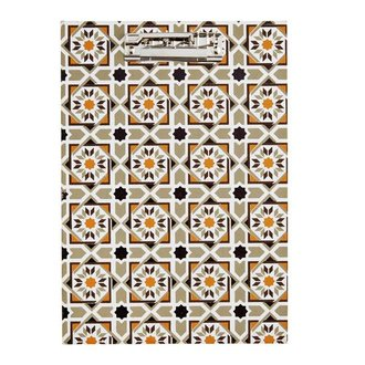 Madam Stoltz Clipboard with hazelnut - white - grey pattern