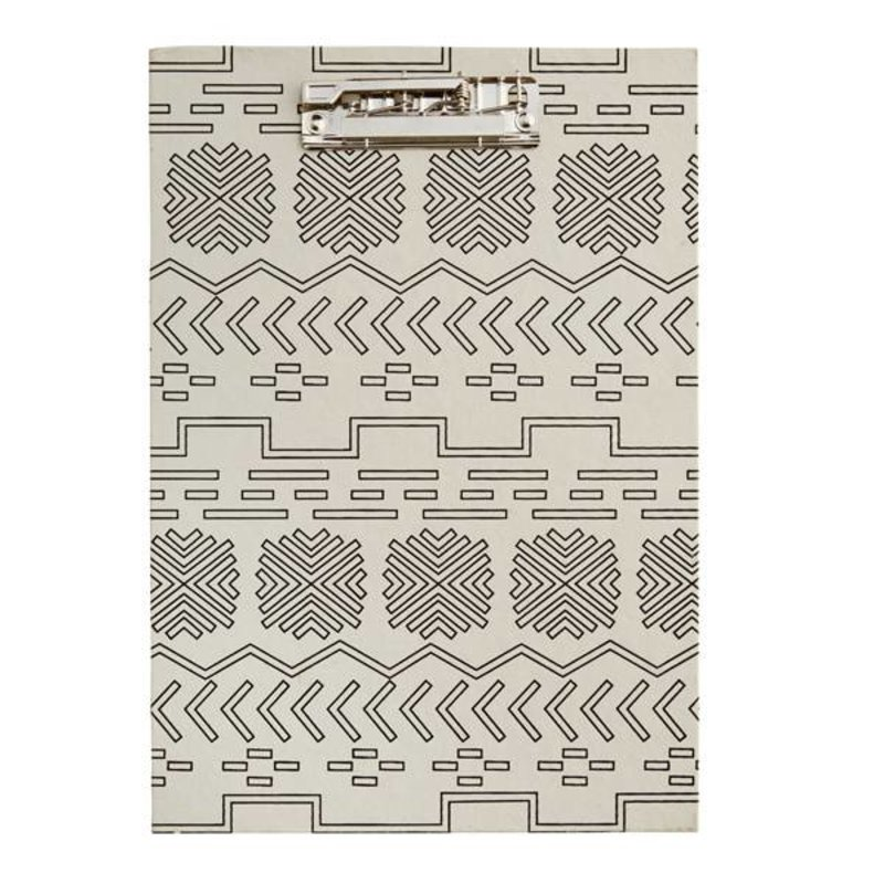 Madam Stoltz-collectie Clipboard with ecru - black pattern
