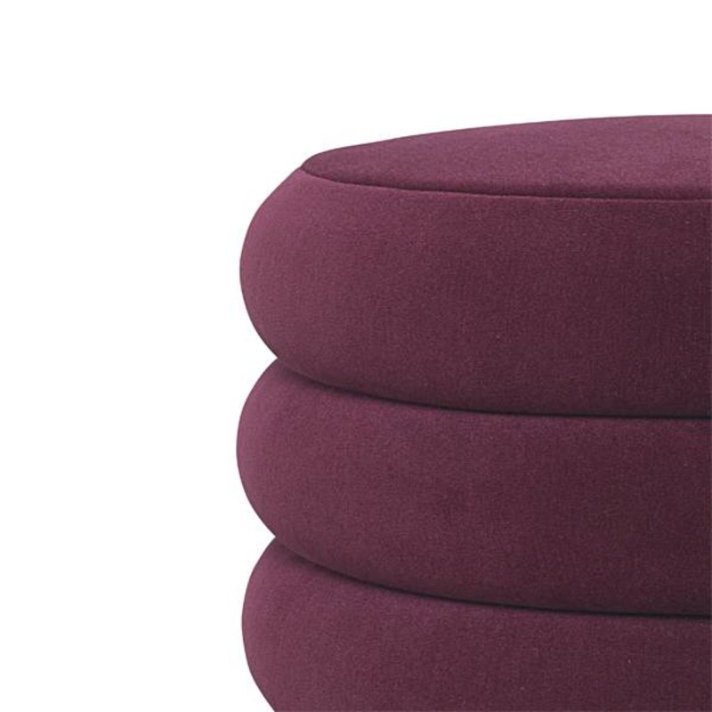 ferm LIVING-collectie Poef velvet bordeaux - ovaal