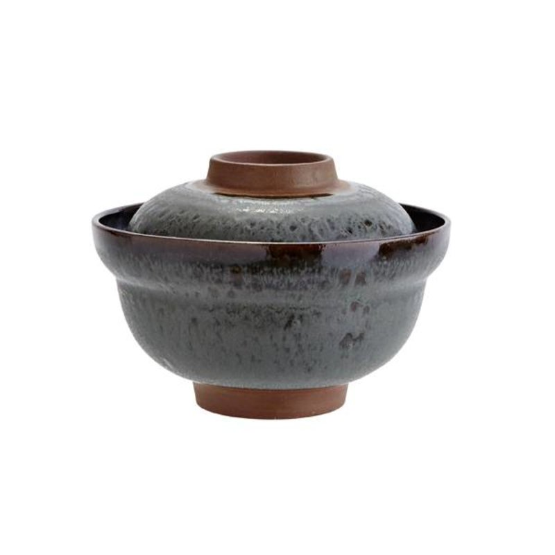 Madam Stoltz-collectie Stoneware bowl with lid - petrol