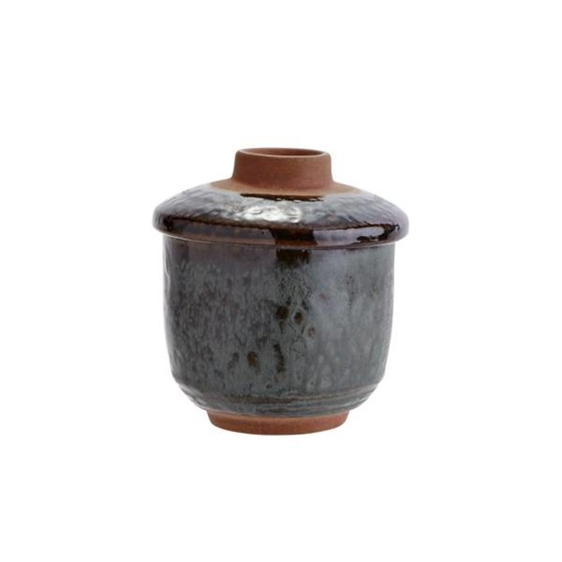 Madam Stoltz-collectie Stoneware soup cup with lid - petrol