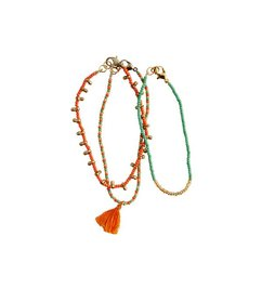 Madam Stoltz Beaded bracelet set of 3 orange - green - gold