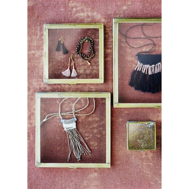 Madam Stoltz-collectie Necklace with fringes black - dusty rose