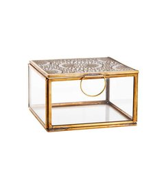 Madam Stoltz-collectie Squared glass box with cravings - antique brass 12 x 12