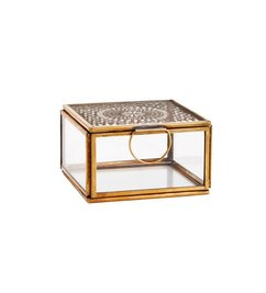 Madam Stoltz-collectie Squared glass box with cravings - antique brass 9,5 x 9,5