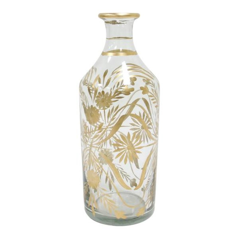 HK living-collectie Glass vase painted with flowers brass