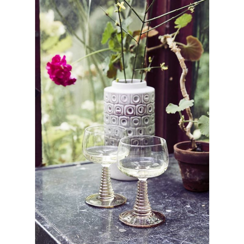 HK living-collectie Wine glass with turned leg - green - Copy