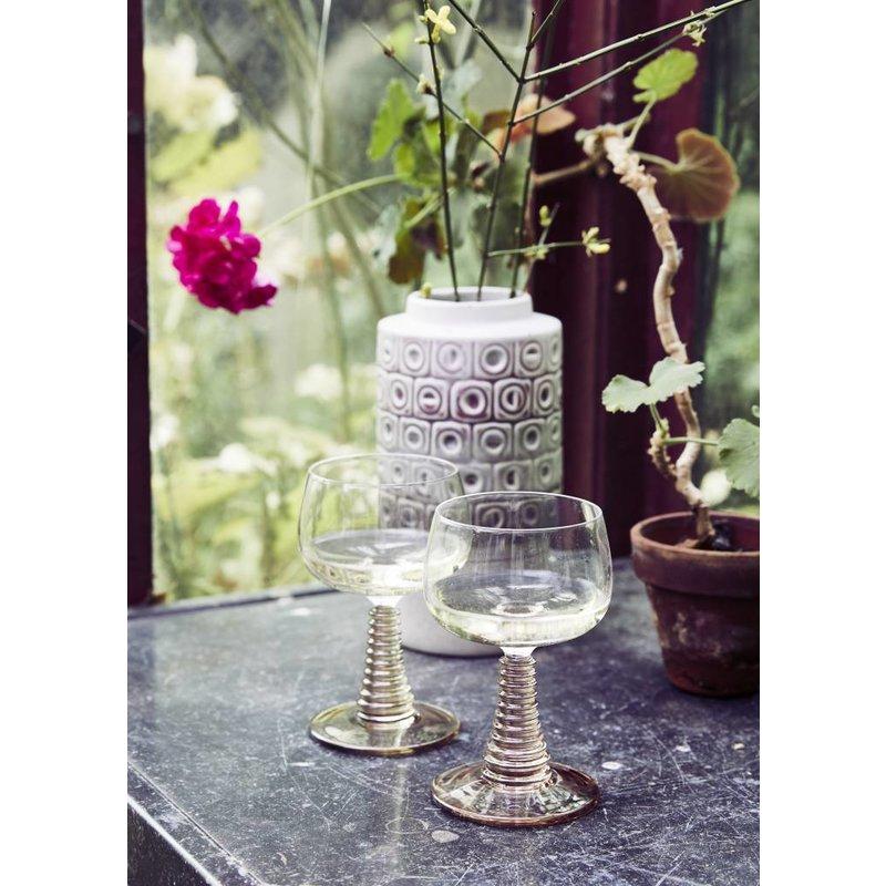 HKliving-collectie Wijnglas met gedraaide voet - roze / poeder