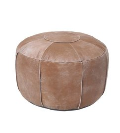 HK living-collectie Leather pouf rustic - brown