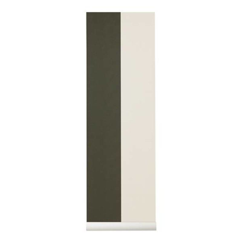ferm LIVING-collectie Behang Thick Lines groen/off-white