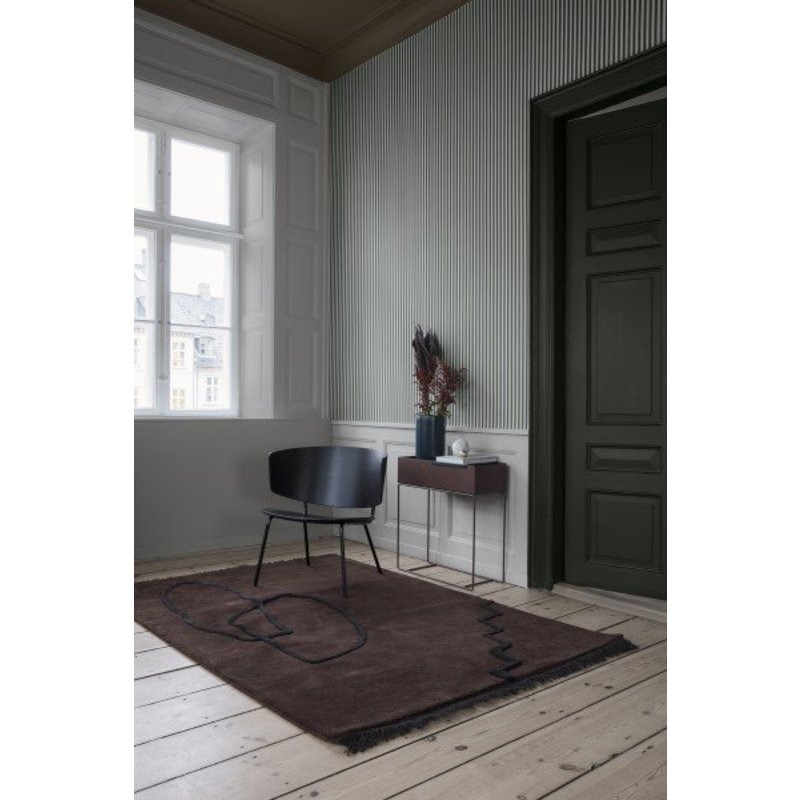 ferm LIVING-collectie Behang Thin Lines groen/off-white