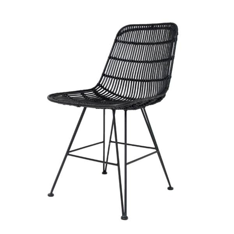HK living-collectie Chair rattan - black