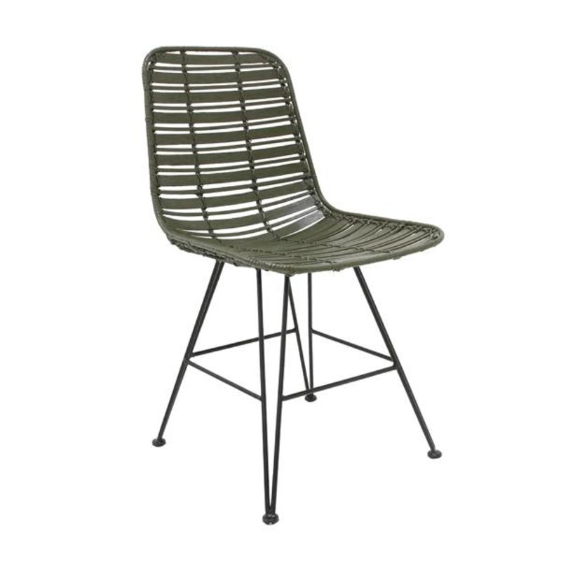 HK living-collectie Chair rattan - olive green