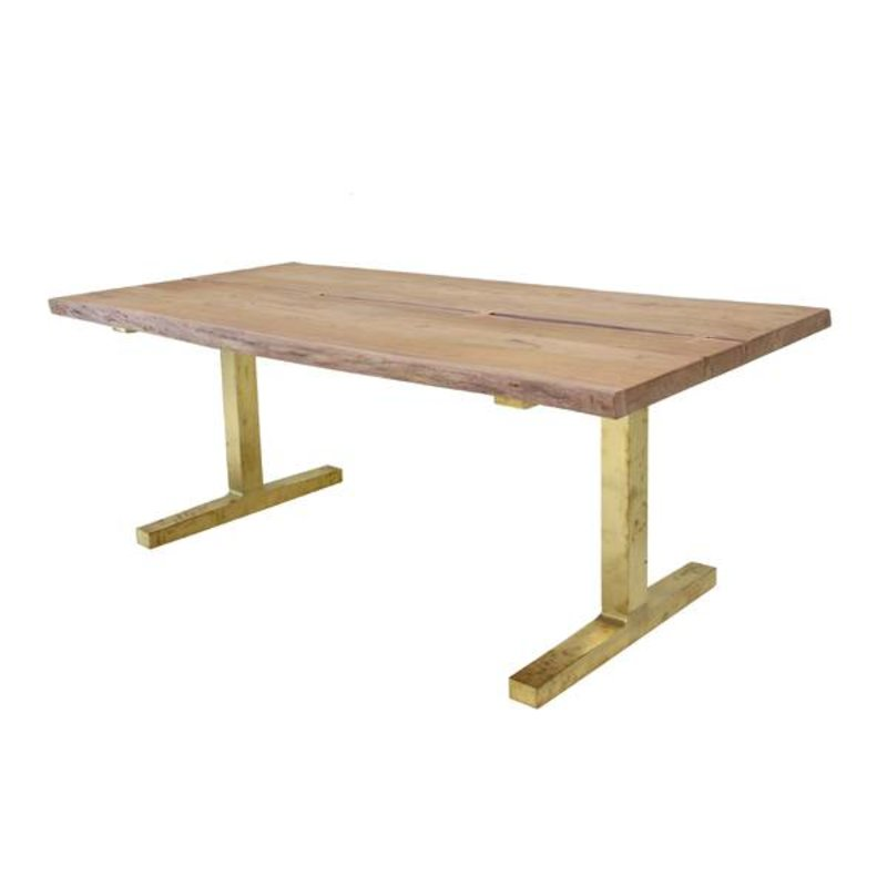 HK living-collectie Dinner table teak wooden with brass legs