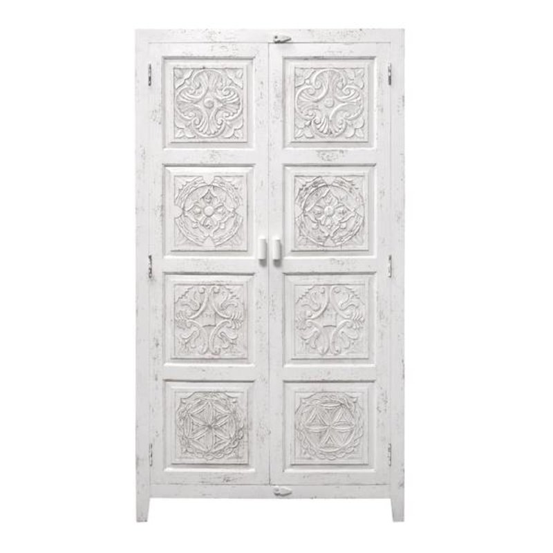 HK living-collectie Cabinet with handcarved figures - white