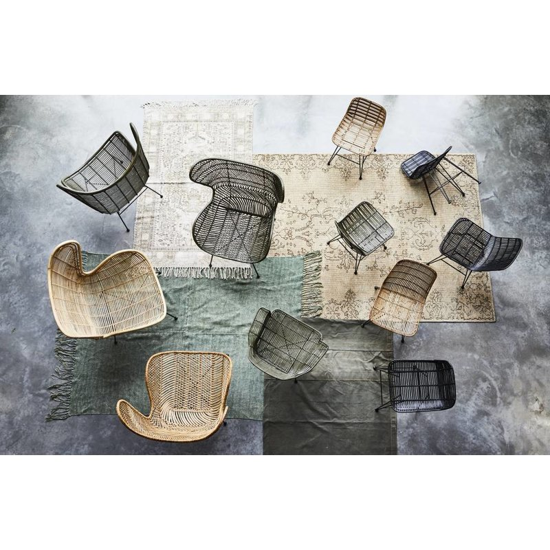 HKliving-collectie Chair rattan - black