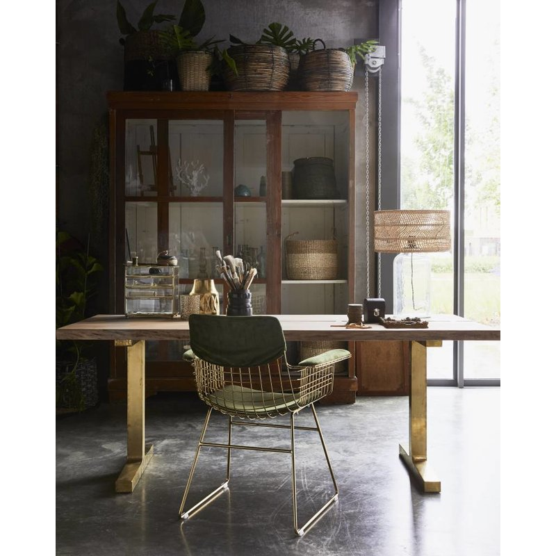 HKliving-collectie Dinner table teak wooden with brass legs