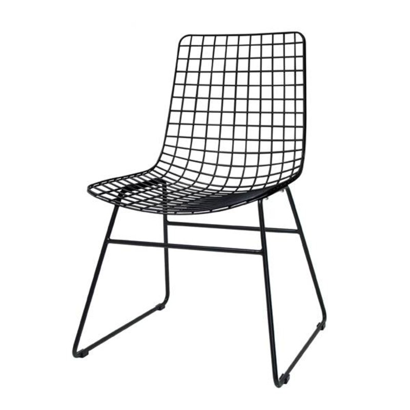 HKliving-collectie Metal wire chair - black