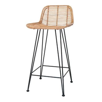 HKliving Bar stool rattan - natural