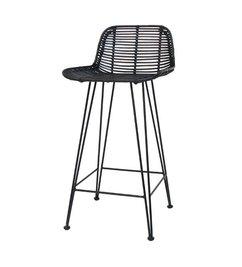 HK living  Bar stool rattan - black
