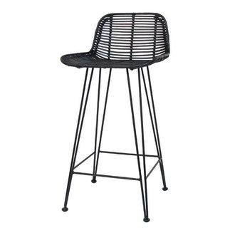 HKliving Bar stool rattan - black
