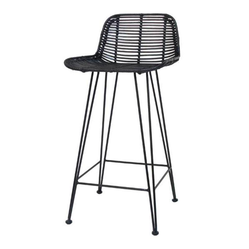 HK living-collectie Bar stool rattan - black