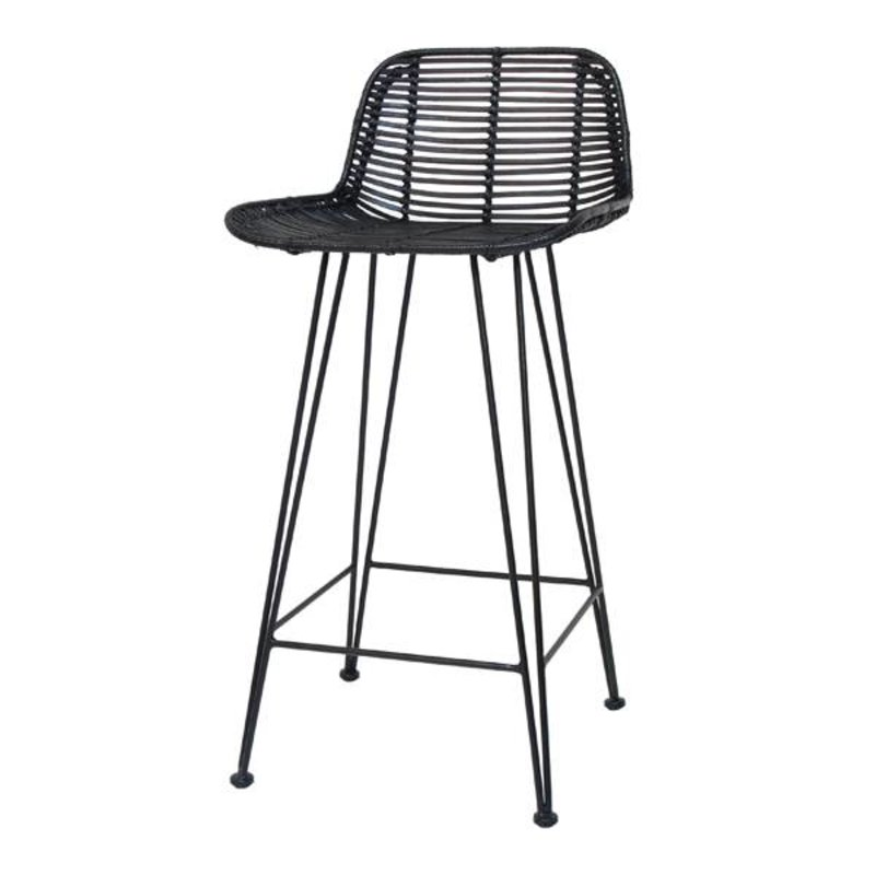 HKliving-collectie Bar stool rattan - black