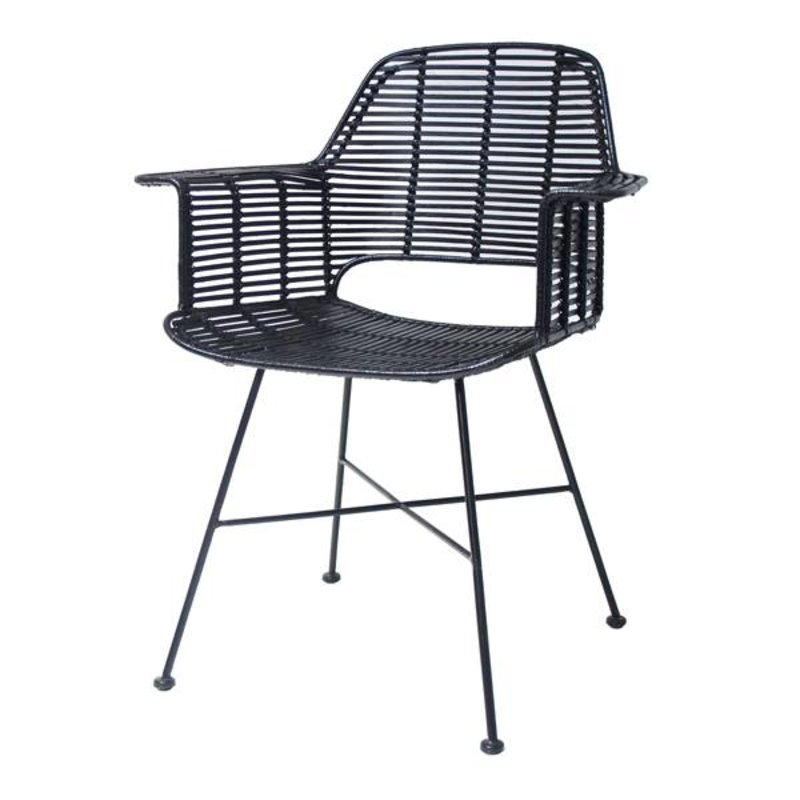 HKliving-collectie Bucket seat rattan - black