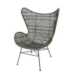 HK living-collectie Egg chair rattan bohemian - olive green