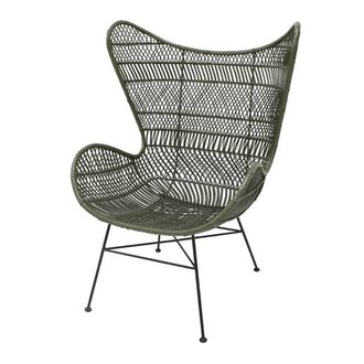 HK living Egg chair rattan bohemian - olive green