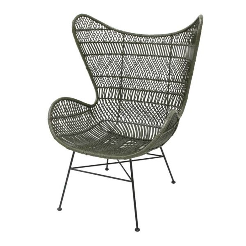 HKliving-collectie Egg chair rattan bohemian - olive green