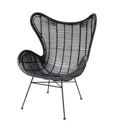 HK living-collectie Egg chair rattan - black