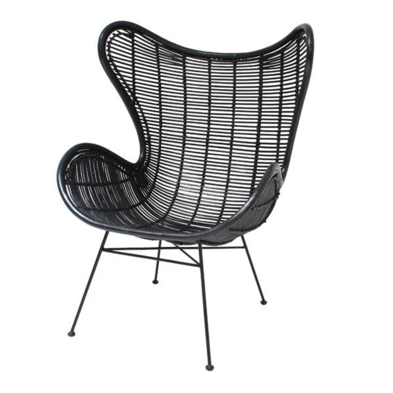 HKliving-collectie Egg chair rattan - black