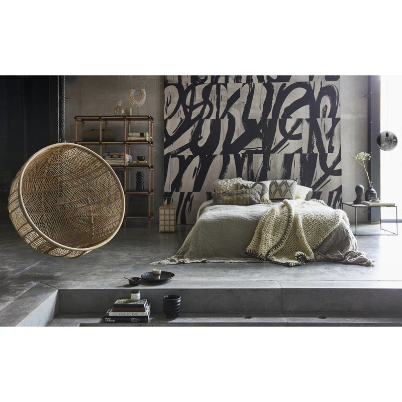 HK living-collectie Hangstoel rotan bohemian bal - naturel