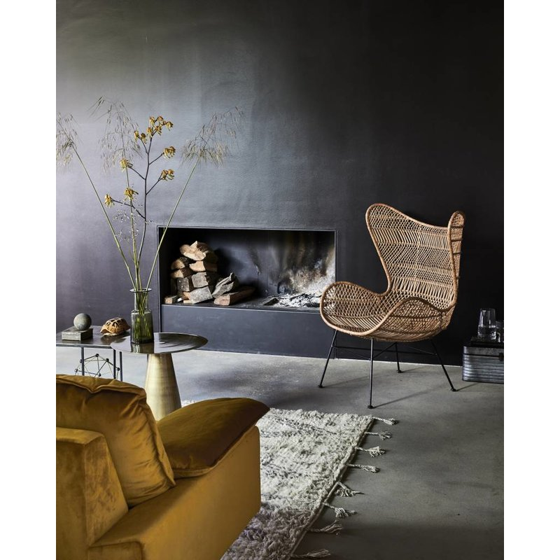 HK living-collectie Egg chair rattan bohemian - natural