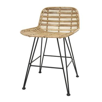 HK living Dining chair rattan - natural